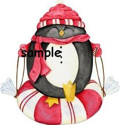 christmas peppermint penguin Holiday Custom Personalized Address Labels