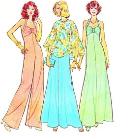 Vintage 1970s Simplicity 6939 halter dress, wide leg halter, jumpsuit and poncho.