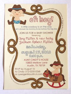Cowboy Rustic Baby Shower Invitation by AestheticJourneys on Etsy