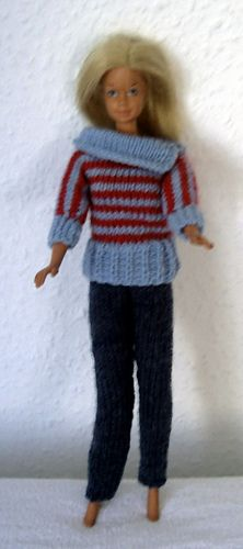 Ravelry: #0013 Brown Sweater and Light Blue Pants pattern by stickatillbarbie.se