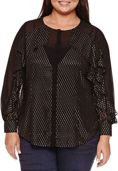 65de90bd5be Bisou Bisou Long Sleeve Button Front Ruffle Blouse-Plus Trendy Plus Size