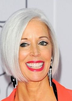This is what I will do when my hair goes gray.One way to look polished is to have smooth, shiny silver hair like Linda Fargo's sleek bob. More gray hairstyles: 10 Long Gray Hair Styles 10 Short Gray Haircuts How to Go Gray Gracefully Grey Hair Wig, Long Gray Hair, My Hair, Lace Hair, Short Grey Haircuts, Short Hair Cuts, Short Hair Styles, Silver White Hair, White Blonde