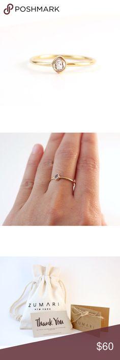Herkimer Diamond Gold Ring 100% Genuine Herkimer Diamond   18k Gold Over Sterling Silver 925   Stone sizes: 3-4mm ZUMARI Jewelry Rings