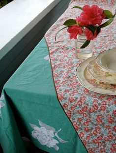 french country vintage tablecloth.