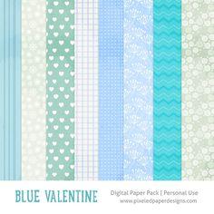 Free digital paper pack - Blue valentine