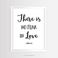 Printable wall art - Christian quote- There is no fear in love- 1 John 4:18- 8x10 inches –JPG/300 dpi-Scripture-Bible verse-Instant Download