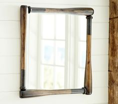 would be easy enough to make...Baseball Framed Mirror | Pottery Barn Kids