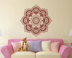 Wall Decal Mandala  Vinyl Sticker Decals Lotus Flower Home Decor Boho Bohemian Bedroom Art Ornament Moroccan Pattern Namaste Yoga Studio x1