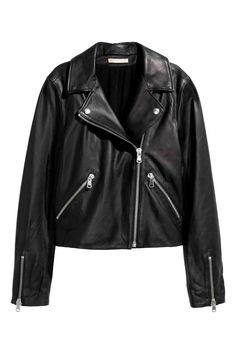 Leather biker jacket - Black - Ladies   H&M GB