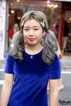 ponytails and hair color ashy blue