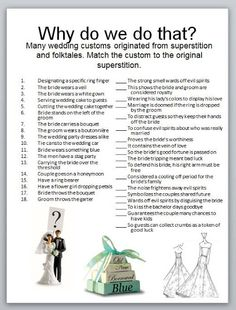Many customs originated from superstitions and folktales.  Can you match them?    www.AmosEvents.com