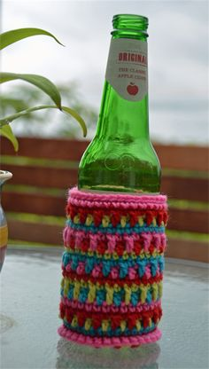 Candy Colours Crocheted Stubbie Cooler/Bottle Cosy/Koozie