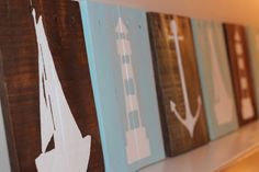 Nautical Pallet Signs - Reclaimed Wood Wall Art - Anchor, Sailboat, Lighthouse by CoastalCoveCreations on Etsy https://www.etsy.com/listing/227902260/nautical-pallet-signs-reclaimed-wood