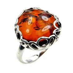 'Prisoner of Love' Sterling Silver Natural Baltic Amber Ring, Size 7