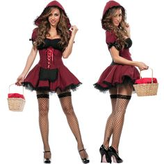 Sexy Womens Fairytale Ribbon Little Red Riding Hood Mini Dress Halloween Costume #Starline #CompleteCostume