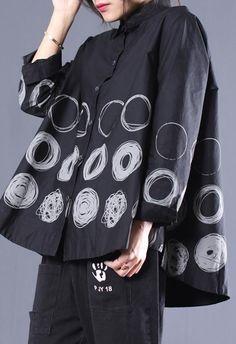 DIY Lapel Patchwork Shirts Black Dotted Blouses Long Sleeve Tops, Long Sleeve Shirts, Stylish Older Women, Cotton Tunics, Cotton Shirts, Fall Shirts, Black Dots, Mode Inspiration, Black Cotton
