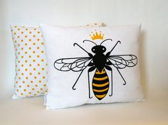 Queen Bee Hand Screen Printed Pillow / Cushion. 10x12. by titiluli