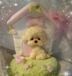 Poodle Puppy & Pink Dog House polymer clay / fondant figure