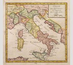 Historical map of Italy, Italian, Italia