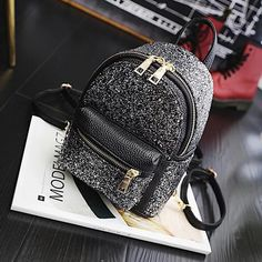 """Universe of goods - Buy """"AEQUEEN Silver Sequin Backpack Women Shoulder Bag Mini Rucksack Bright Leather Preppy Daypacks Small Back Pack For Teenage Girls"""" for only USD. Cute Mini Backpacks, Stylish Backpacks, Girl Backpacks, Sequin Backpack, Backpack Purse, Leather Backpack, Pu Leather, Fashion Bags, Fashion Backpack"""