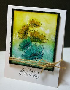 gorgeous handmade card ... stamped & colored with Distress Ink markers ... embossed and sanded ... result = work of art ...