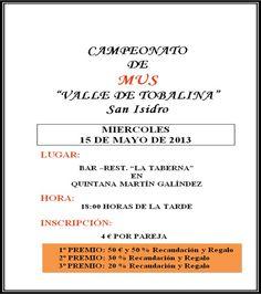15/05 Campeonato de Mus. Quintana Martin Galindez 18:00h Bar-Restaurante La Taberna