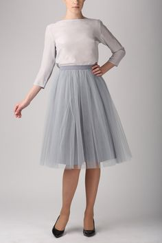 High-quality grey tulle skirt MADE TO ORDER, also good as petticoat. Made of two layers of soft tulle and satin. The skirt has hidden zipper on the side and satin lining underneath tulle. SIZES:   Size XS - length 65 cm, waist 70 cm Size S - length 65 cm, waist 74cm Size M - length 65 cm, waist 78 cm Size L - length 65 cm , waist 82 cm Size XL - length 65 cm, waist 86 cm  Inches: Size XS - length 26 , waist 27.3 Size S - length 26 , waist 28.9 Size M - length 26 , waist 30.4 Size L - length…