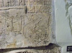 Tudor graffiti in the Beauchamp Tower, Tower of London - Anne's falcon badge…