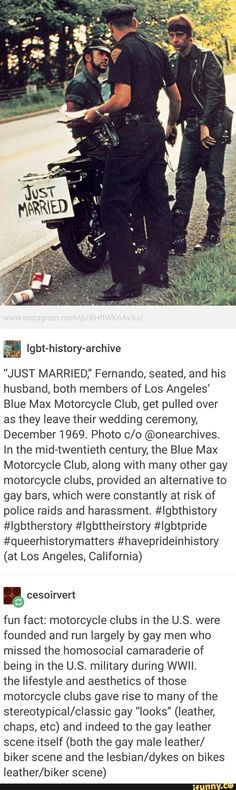 I didn't know this! LGBTQ+ history of motorcycle clubs run by gay men! <<< why did they get pulled over though? Like was it actually harassment or did they just run a stop sign? Cultura General, History Facts, Lgbt History, The More You Know, Interesting History, Faith In Humanity, Social Issues, Conte, My Guy