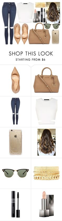 """397"" by dorisjurisic ❤ liked on Polyvore featuring Sergio Rossi, Michael Kors, Topshop, BCBGMAXAZRIA, Rifle Paper Co, Ray-Ban, Charlotte Russe, Christian Dior and Burberry"