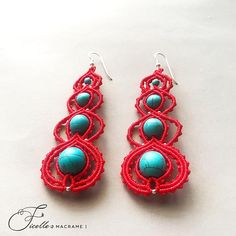 Red macrame earrings Macrame earrings Earrings diy Red