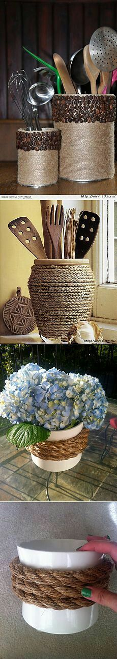 All sorts of fun ways to use simple rope and twine to dress up everyday objects.All sorts of fun ways to use simple rope and twine to dress up everyday objects. Diy Bedroom Decor, Diy Home Decor, Twine Crafts, Craft Projects, Projects To Try, Rope Decor, Diy Y Manualidades, Decoration Table, Bottle Crafts