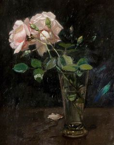 arthur spooner(1873–1962), pink roses in a glass vase. oil on board, 31.8 x 26.7 cm. nottingham city museums and galleries, uk http://www.bbc.co.uk/arts/yourpaintings/paintings/pink-roses-in-a-glass-vase-46747