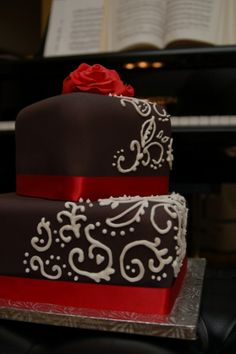 Black White Red Birthday Cake