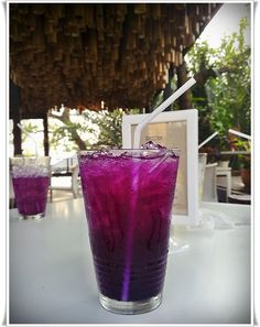 Butterfly Pea with Lime Juice Food N, Food And Drink, Butterfly Pea, Lime Juice, Shot Glass, Drinks, Tableware, Key Lime Juice, Drinking