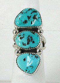 Authentic Native American Navajo Sterling Silver Turquoise ring