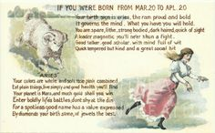 Antique Postcard Horoscope Aries  March From the 1900s I love it!