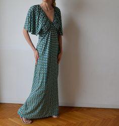 Long maxi dress Teal emerald green graphic print by MuguetMilan, $135.00