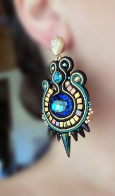 Soutache Earrings Serena Di Mercione Creation  -- I like the spike beads