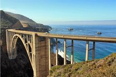 Few drives can match the beauty of California's Highway 1 known as #BigSur. It runs for 90 miles, clinging to the slopes of the Santa Lucia Mountains above the glittering Pacific!  Tip: don't miss #BixbyBridge which is one of the world's highest single-span concrete bridges! Enjoy amazing canyon & ocean views from observation points along the bridge.