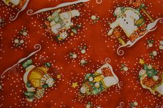 Snow Flurries Tossed Snowmen Motif (Red background); sold by the yard