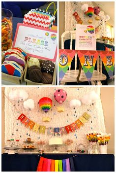 Rainbow Hot Air Balloon 1st Birthday | CatchMyParty.com