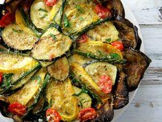 vegetable tart with eggplant crust