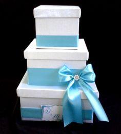 Ca_139 Caja para Sobres Blanca Turquesa Personalizada para #15años o #bodas