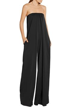 Black satin-crepe Concealed hook and zip fastening at back 97% polyester, 3% elastane Dry clean Imported Large to size. See Size & Fit notes.