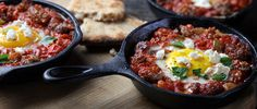 Elevate your senses and your menu with this Baked Eggs (Shakshouka) with Sausage and Feta recipe from Smithfield.