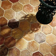restaurant flooring_exquisite surfaces: Hexagon_Material: Antique Terra Cotta_Provenance: France_Antique hexagon terra cotta tiles from France in traditional colors French Country House, Flooring Options, Unique Flooring, Kitchen Flooring, Flooring Tiles, Kitchen Tiles, Fall Trends, Old World, Tile Floor