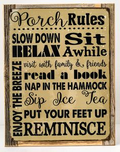 Porch Rules Rules Metal Sign Framed on Rustic Wood, Motivational Rules #HBA #Country