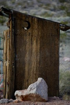 An outhouse sits in the ghost town outside of Nelson, Nevada