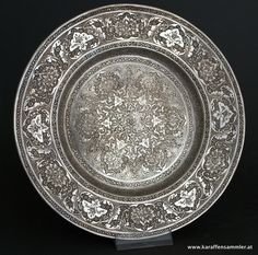 finely engraved massive silver persian plate